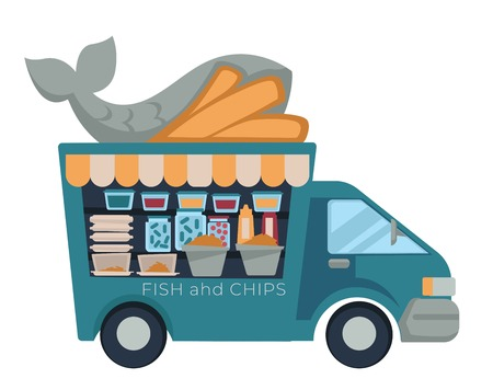 Fast food truck fish and chips isolated vehicle vector car street meals and dishes transport snack seafood and french fries cardboard lunch boxes takeaway van sauces and pickles unhealthy nutrition.