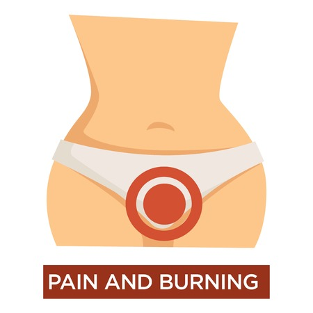 Pain in burning in female cystitis genitals disease symptom vector isolated female hips or thighs urinary infection inflammation medicine and healthcare urology woman waist medical problem treatment. Stock Vector - 124655135