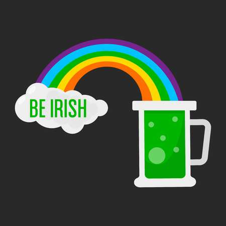 Beer mug and rainbow Irish symbol Saint Patrick day vector Ireland tradition alcohol drink ale green color of luck beverage and foam or cloud nationality and national holiday celebration feast.