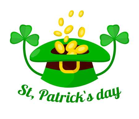 Gold coins in leprechaun hat and clover Saint Patrick day holiday vector fortune and luck symbol fairy creature headdress Irish tradition Ireland festival wealth and well-being wild green plant. Illustration