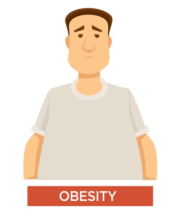 Overweight and overeating obesity problem isolated male character cholecystitis and heart disease risk fat guy digestion problem metabolism excess weight unhealthy nutrition medicine and healthcare Illustration