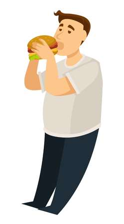 Fat guy overeating obesity man eating hamburger vector isolated male character burger fast food excess weight slow metabolism and digestion problem junk food heart disease risk high cholesterol. Illustration