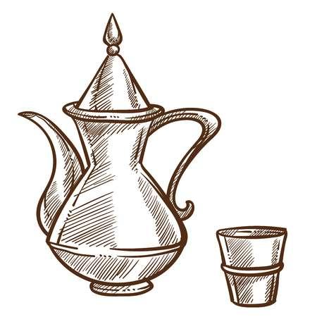 La théière et la petite tasse en acier monochrome décrivent la composition isolée de la tasse d'ustensiles de cuisine et du récipient pour le thé, la boisson chaude, le dessin incolore de la tasse de thé et du pot avec une boisson à l'heure du thé.