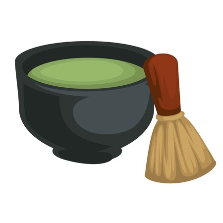 Japanese tea matcha in bowl with bamboo whisk green powder drink vector detox healthy herbal beverage Japan traditional ceremony organic product Oriental culture clay dishware and wooden tool.