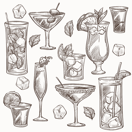 Cocktails isolated sketches ice and fruit slices