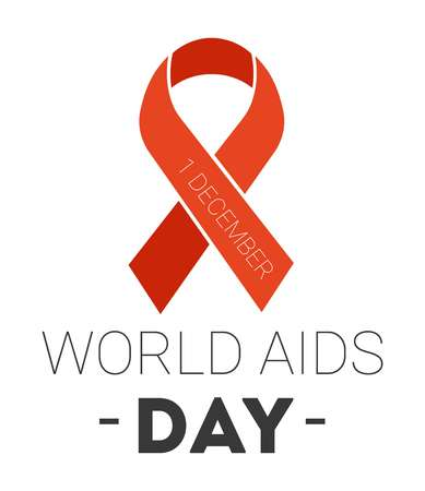 World aids day isolated icon red ribbon charity Illustration