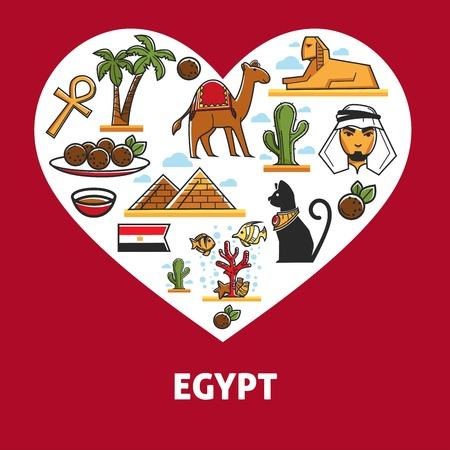 Egyptian architecture cuisine and animals Egypt symbol attractions or landmarks vector pyramids and camel palms and sphinx coptic cross and cat bedouin or arab and meat balls coral reef and cactus. Standard-Bild - 124518485