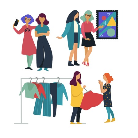 Friends or girls pastime together art gallery and shopping taking selfie vector picture discussion choosing clothes and making photo women garments on rack smartphone painting leisure and friendship.