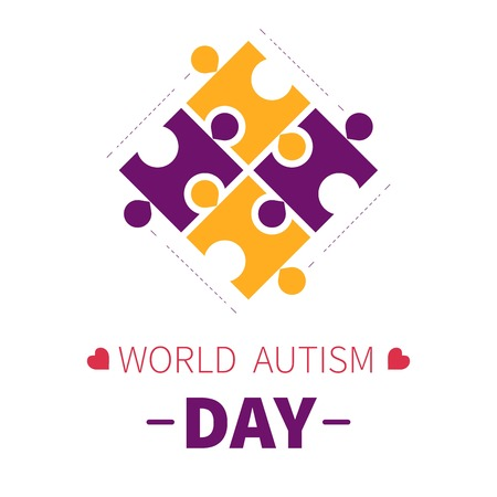 Puzzle pieces or jigsaw world autism day isolated icon slow developmental brain dysfunction socializing problem medicine and healthcare tolerance and solidarity day appreciation help or charity fund. Illustration