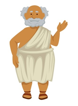 Elderly man Greek philosopher in robe and sandals isolated male character nationality or ethnicity Ancient Greece history scholar or antique scientist grey hair and beard teacher wisdom and antiquity.