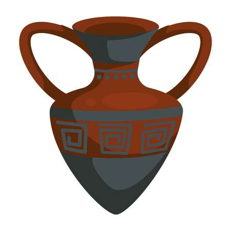 Ceramic pot or amphora ancient Greek vase with ornament vector isolated Greece symbol old vessel history and antiquity jug with handles Mediterranean country relic travel to Athens culture exploration.