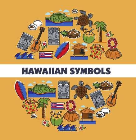 Hawaiian symbols traveling tropical island Hawaii vector illustration