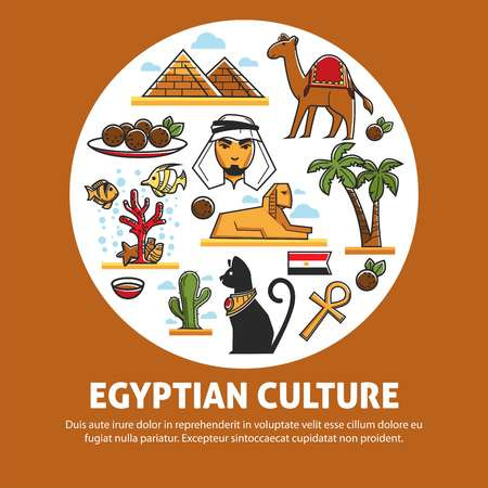 Travel to Egypt architecture cuisine and animals Egyptian culture vector pyramids and camel palms and sphinx coptic cross and cat bedouin and arab man and meat balls coral reef and cactus flag. Standard-Bild - 124518496
