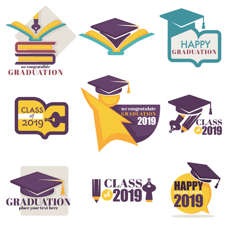 Happy graduation isolated icons academic hat and books Иллюстрация