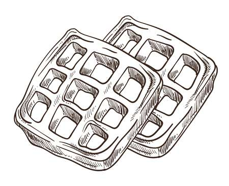 Waffles breakfast isolated sketch cooking waffer dessert