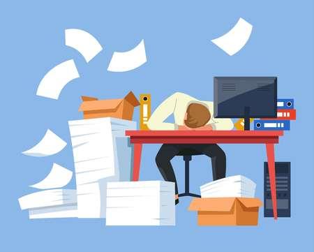 Pracownik biurowy zmęczony pracownik wyczerpany biznesmen wektor człowiek śpiący w miejscu pracy dokumenty i kartony monitor komputera i foldery przepracowanie termin przeciążenie drzemka na biurko zmęczenie. Ilustracje wektorowe