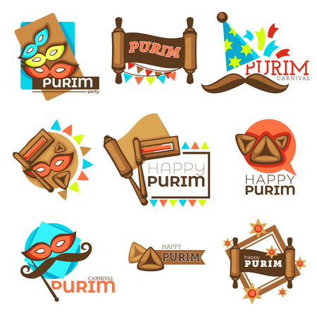 Purim carnival Jewish holiday isolated icons mask and mustache Illustration
