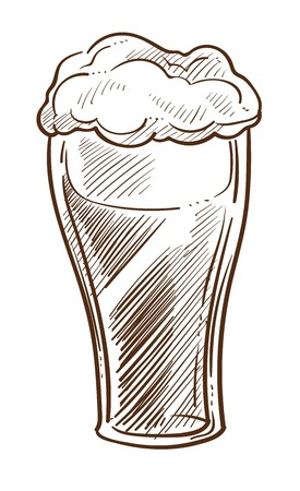 Craft beer with foam in glass isolated sketch alcohol drink vector brewery product in mug Irish hop and barley ingredients refreshment or beverage cafe or bar menu element monochrome drawing.