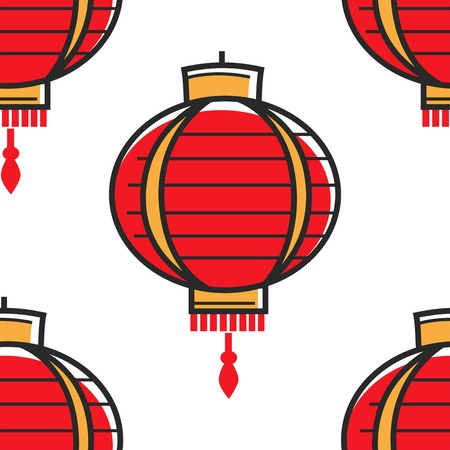 Lamp or chandelier Chinese lantern seamless pattern Oriental culture vector China culture and tradition light festival element interior design element endless texture paper or fabric plafond.