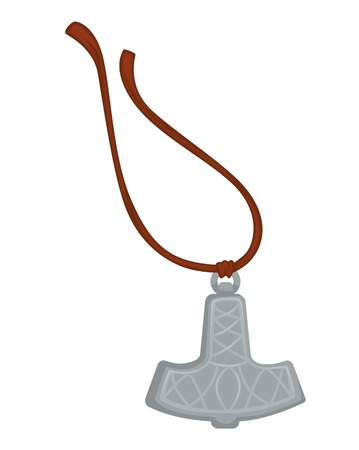 Mjolnir Thor hammer viking amulet silver pendant on rope vector Scandinavian God weapon history relic accessory or jewelry North warrior item ancient charm and faith magic device myth or legend.