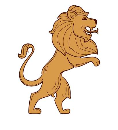 Lion royal symbol heraldry mane and snake tongue