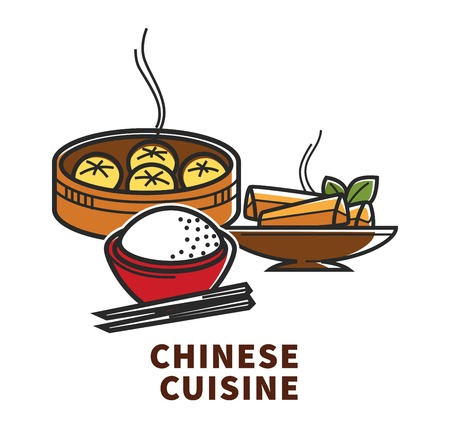 China cuisine national food rice dumplings and Chinese rolls