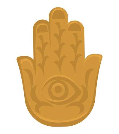 Indian culture symbol Hamsa hand religion and belief vector amulet religion or mantra evil eye protection gold palm with ornament travel to India culture and spirituality mascot or talisman charm. Stock Illustratie
