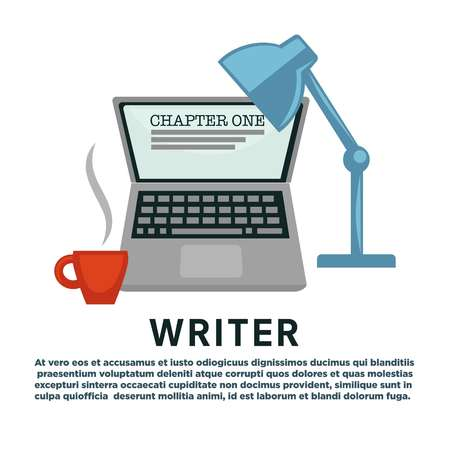Literature writer profession laptop and lamp coffee cup chapter writing vector modern technology device light and energetic drink literary work creation novel or story portable computer and beverage.