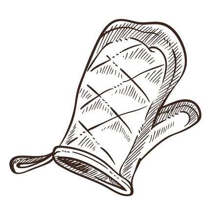 Rękawica do pieczenia do trzymania gorących obiektów monochromatyczny zarys szkicu Ilustracje wektorowe
