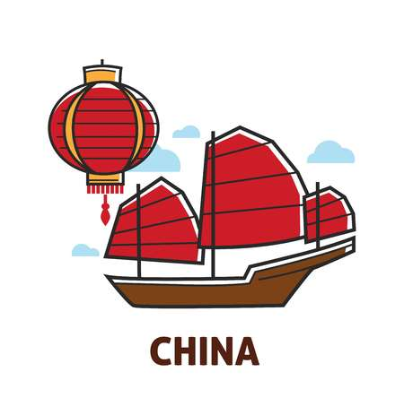 Travel to China Chinese symbols lantern and junk ship vector light and water vessel or transport oriental culture isolated objects traveling journey or trip sailboat and chandelier red color.