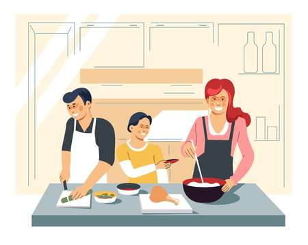 Mother father and son family cooking dinner at kitchen vector soup and chicken leg boy with carrot mom in apron mixing broth dad cutting cucumber food and culinary ingredient homemade dishes and meals. Illusztráció