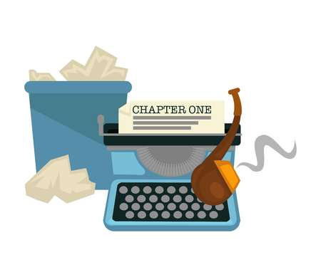 Typing machine and smoking pipe waste paper bucket isolated writers tools vector retro devices chapter story or novel creation idea and plot text tobacco in tube and litter bin literature work.