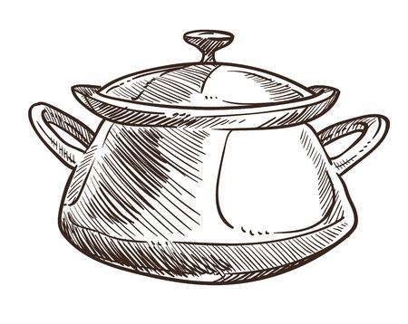 Casserole avec poignées et capuchon croquis monochrome contour vectoriel casserole isolée pour la préparation des aliments, ragoût et ingrédients bouillants, ustensiles de cuisine et fournitures pour le style plat du chef. Vecteurs