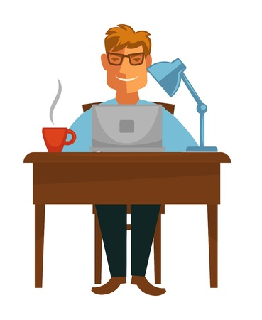 Book writing writer with laptop at desk coffee cup and lamp vector isolated male character in glasses job or occupation brainstorming idea or plot typing text novel or story literacy freelancer. Illustration