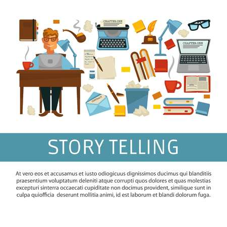 Writer profession storytelling man with laptop at desk vector book and smoking pipe typing machine and paper sheets pencil and litter bin literature award or prize and eyeglasses coffee and notebook.