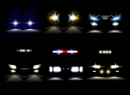 Light headlights and police car flasher vehicle bumper Stock Photo