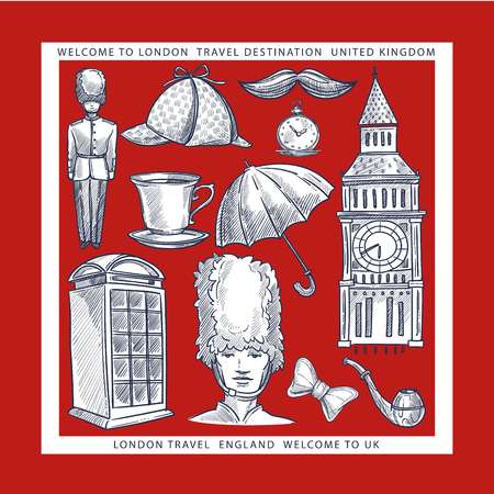 Welcome to England London symbols sketches travel to UK Illustration
