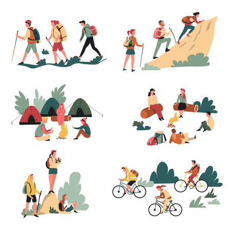 Camping and bicycles walking and campfire hiking outdoor activity vector hikers or tourists with backpacks climbing mountain riding bike bonfire tents and binocular sitting on logs in forest travel.