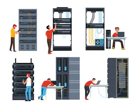 Internet modern IT technologies server racks digital information storage isolated devices and programmers data center laptops connected to database web and files games and applications cloud computing.