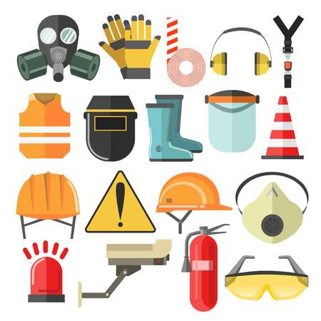 Mask and helmet goggles and respirator protective gear and equipment vector hardhat and construction vest headphones and caution stripe rubber boots and surveillance camera siren and fire extinguisher. Vetores