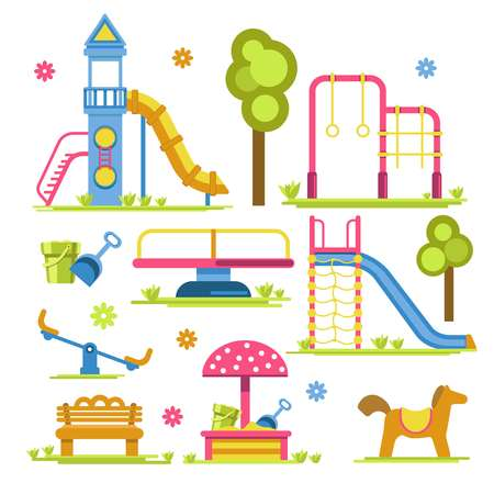 Slide and sandbox children playground seesaw and merry-go-round vector rocket and horizontal bar bucket and scoop wooden bench and horse mushroom tent trees outdoor activity kids park carousel.