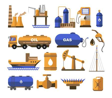 Gas and oil fuel factory or plant station and balloon vector truck and ship barrel and mining machine crane and hob canister petroleum production and shipping extraction and selling tower or derrick. Vektorové ilustrace