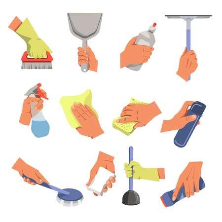Manos con herramientas de limpieza y medios de limpieza y limpieza del hogar.