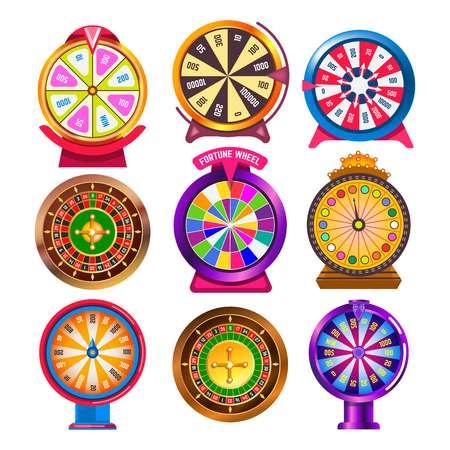 Roue de la fortune et roulette de casino objets de jeu ronds isolés Vecteurs