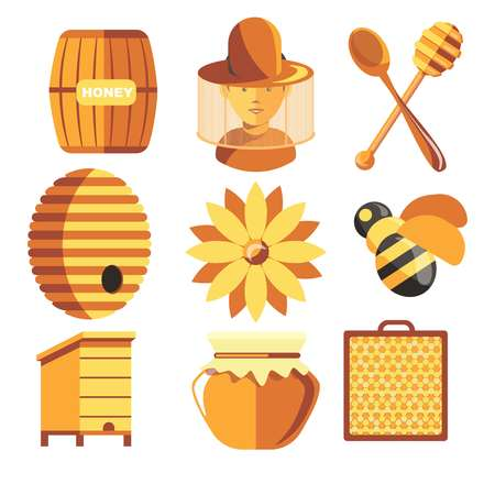 Honey production beekeeping farm beekeeper and apiary apiculture vector barrel and beehive honeycomb and jar bee and dipper with spoon man in protective clothing flower with pollen agriculture.
