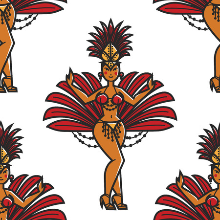 Woman in bikini and feathers Rio carnival seamless pattern vector girl in masquerade costume and stiletto shoes with crown endless texture party dancing Brazil summer festive event wallpaper print. Vettoriali