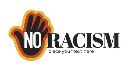 No racism isolated icon with dark skin palm