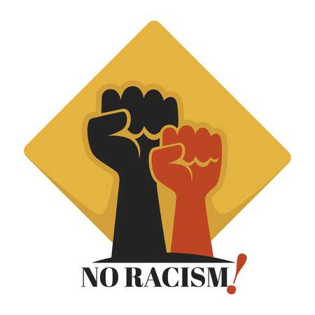 No racism isolated icon human fists unity and tolerance