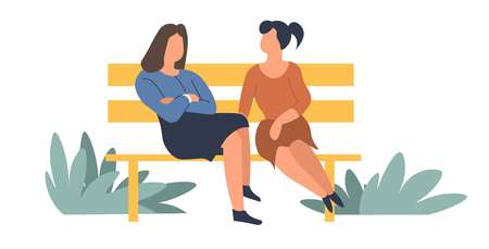 Women friendly taking friendship of people sitting on bench Ilustração