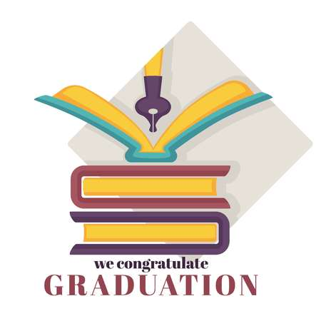 Graduation isolated greeting icon books pile and pen